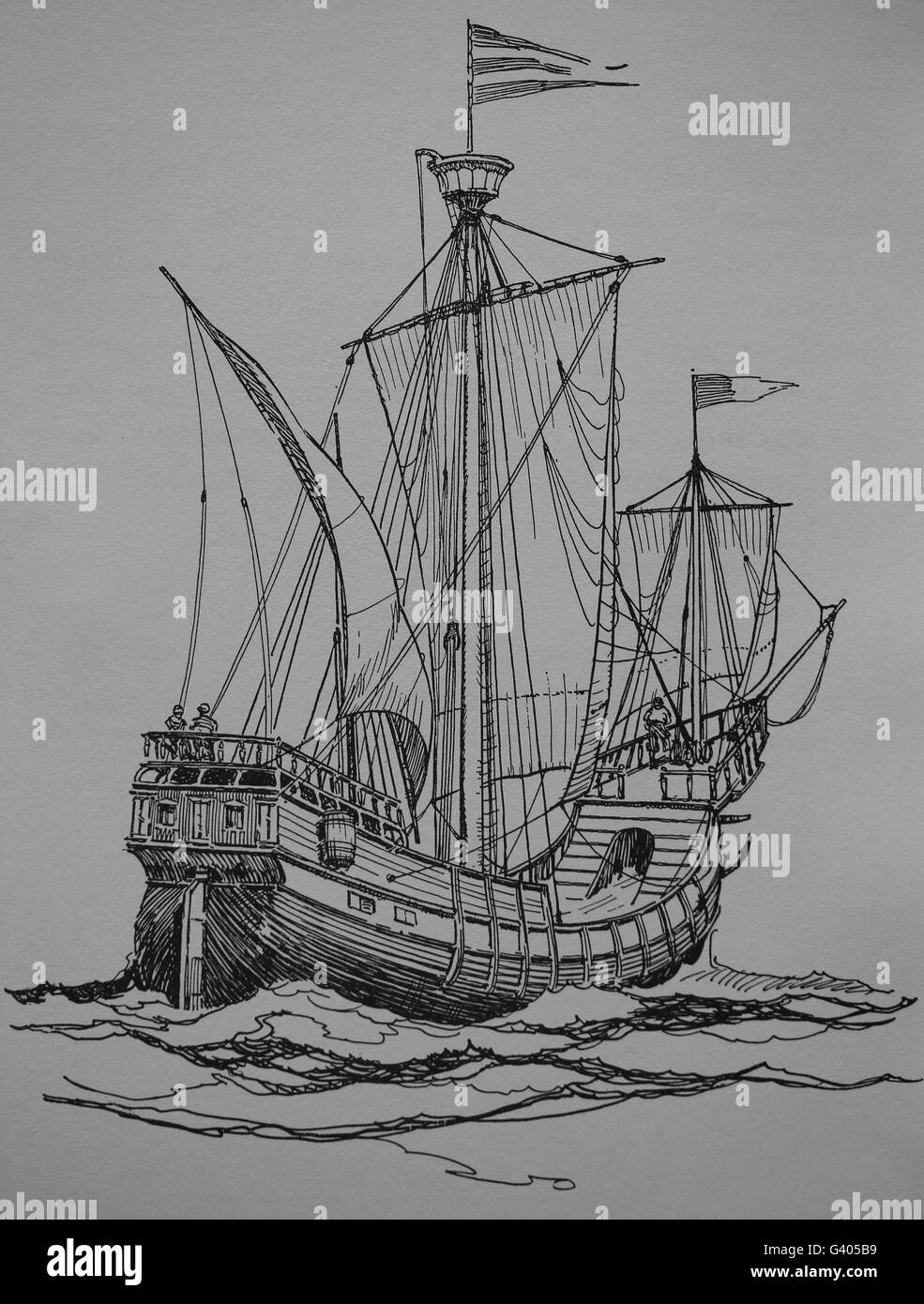 Modern Age. Late 16th century ship. Engraving, 19th century. - Stock Image