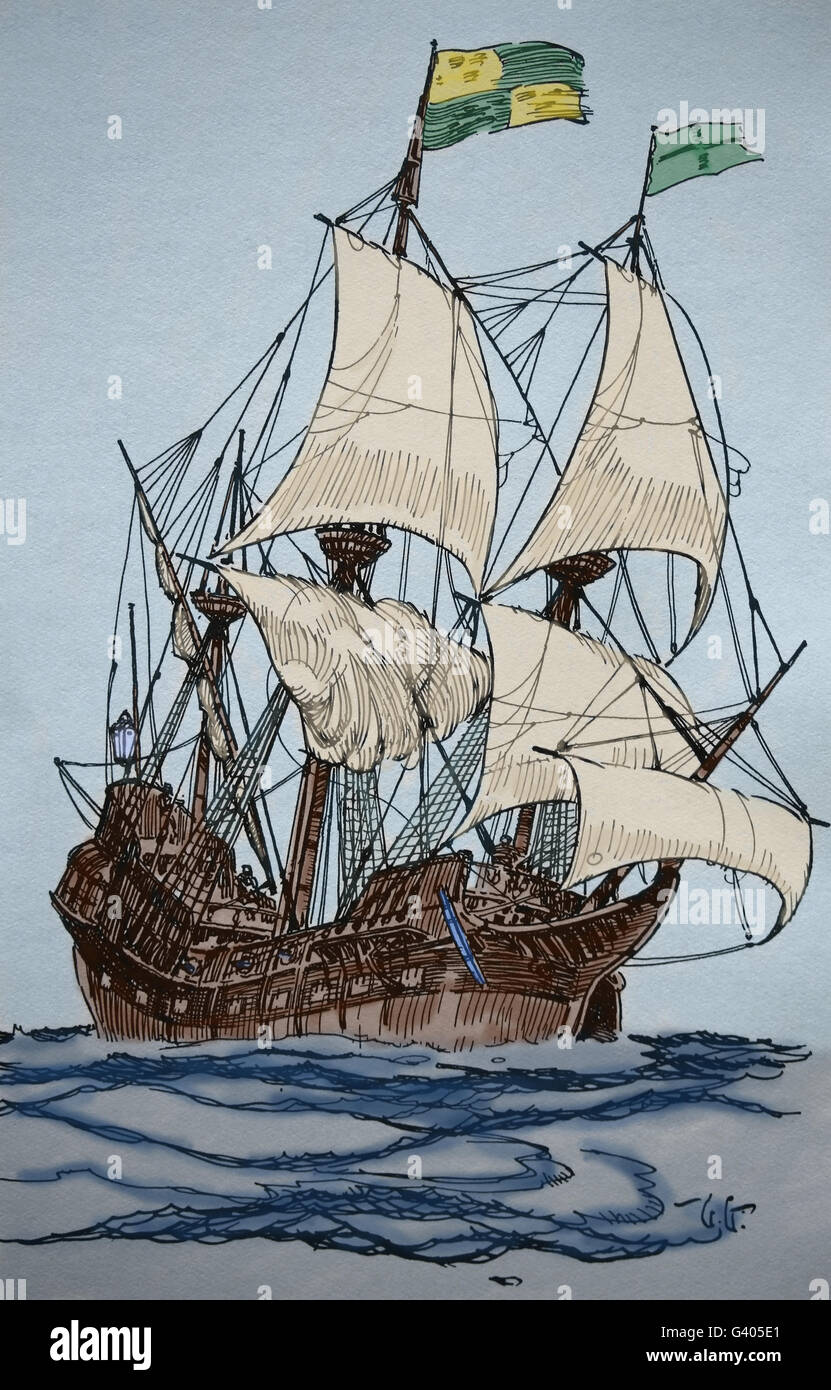 An Elizabethan ship of 1588. Gallion. Modern period. England. Europe. Engraving, 19th century. Color. - Stock Image