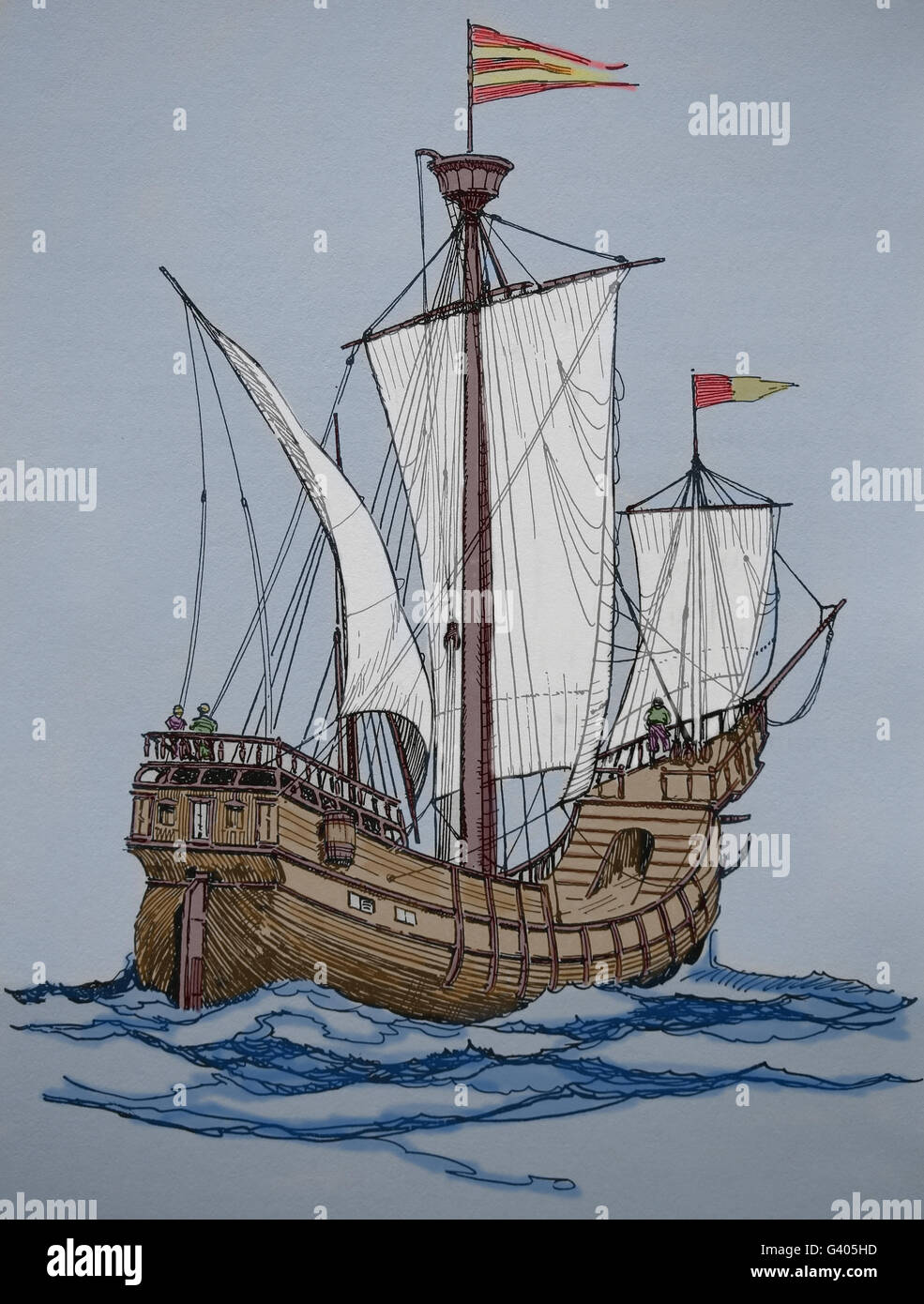 Modern Age. Late 16th century ship. Engraving, 19th century. Color. - Stock Image