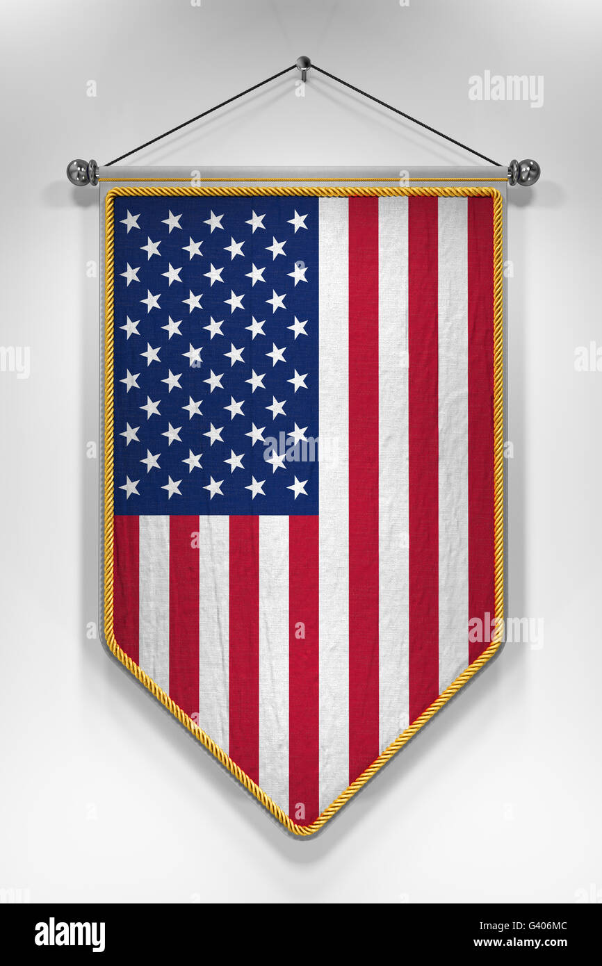 fdecf10ea3fc67 Pennant with USA flag. 3D illustration with highly detailed texture. -  Stock Image