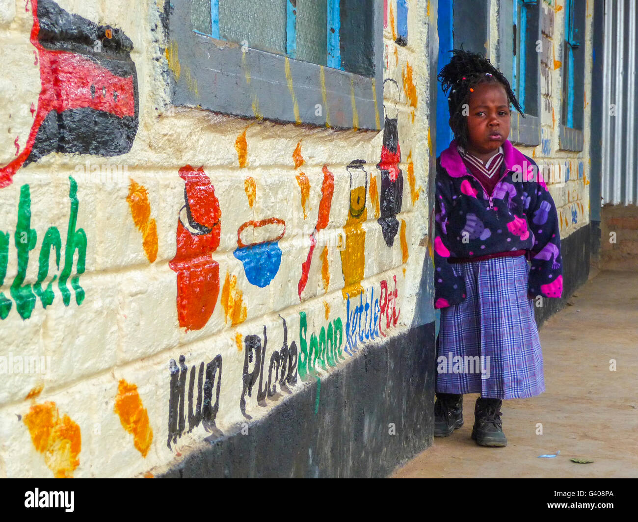 A child in a rural Kenyan school - Stock Image