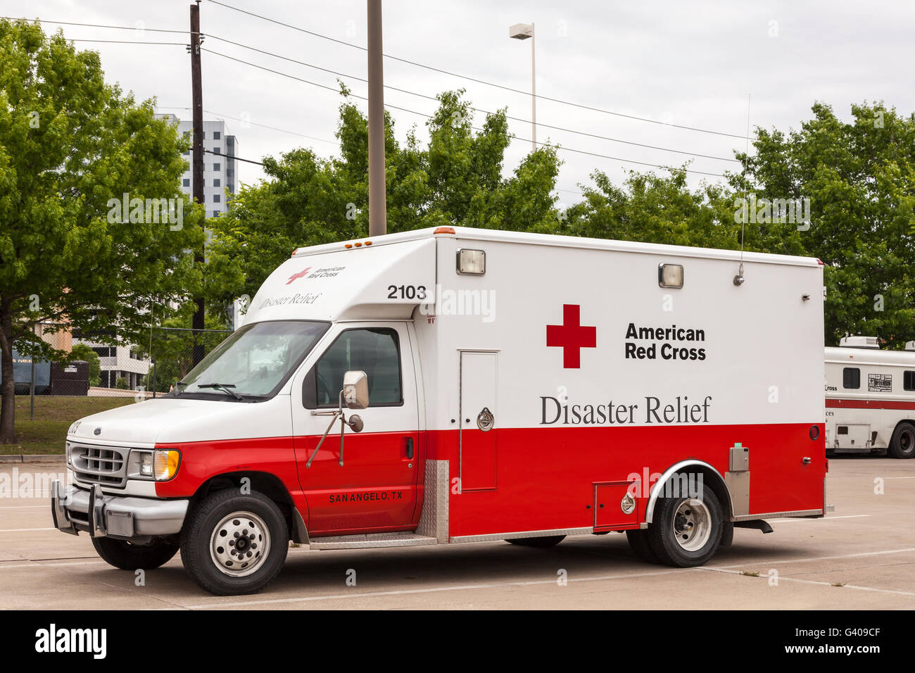 American Red Cross Disaster Relief Vehicle - Stock Image
