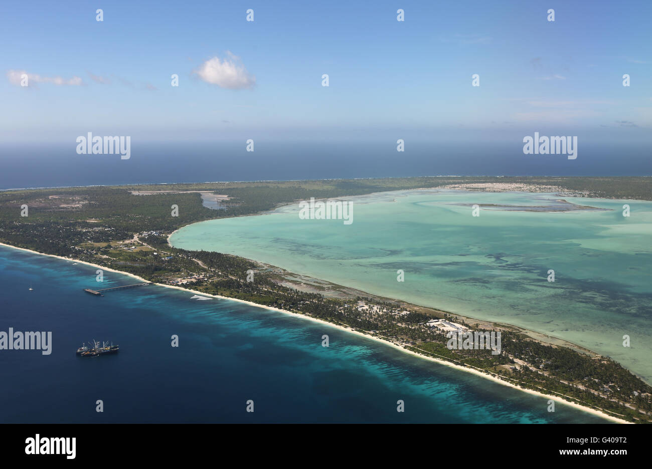Aerial view of Christmas Island, Kiribati Stock Photo
