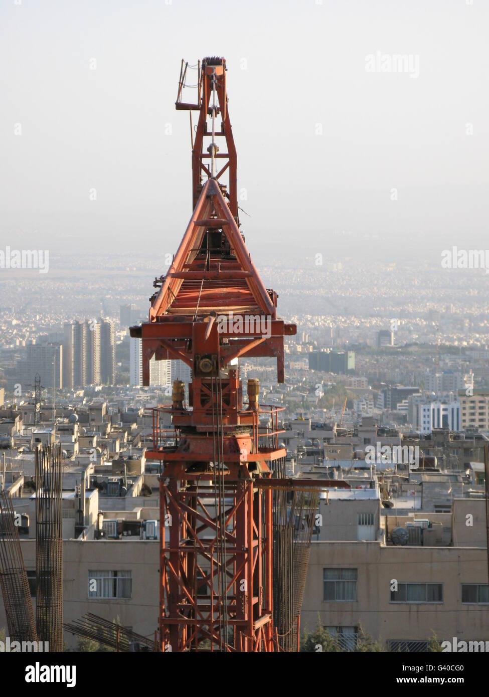 super crane on modern city - Stock Image