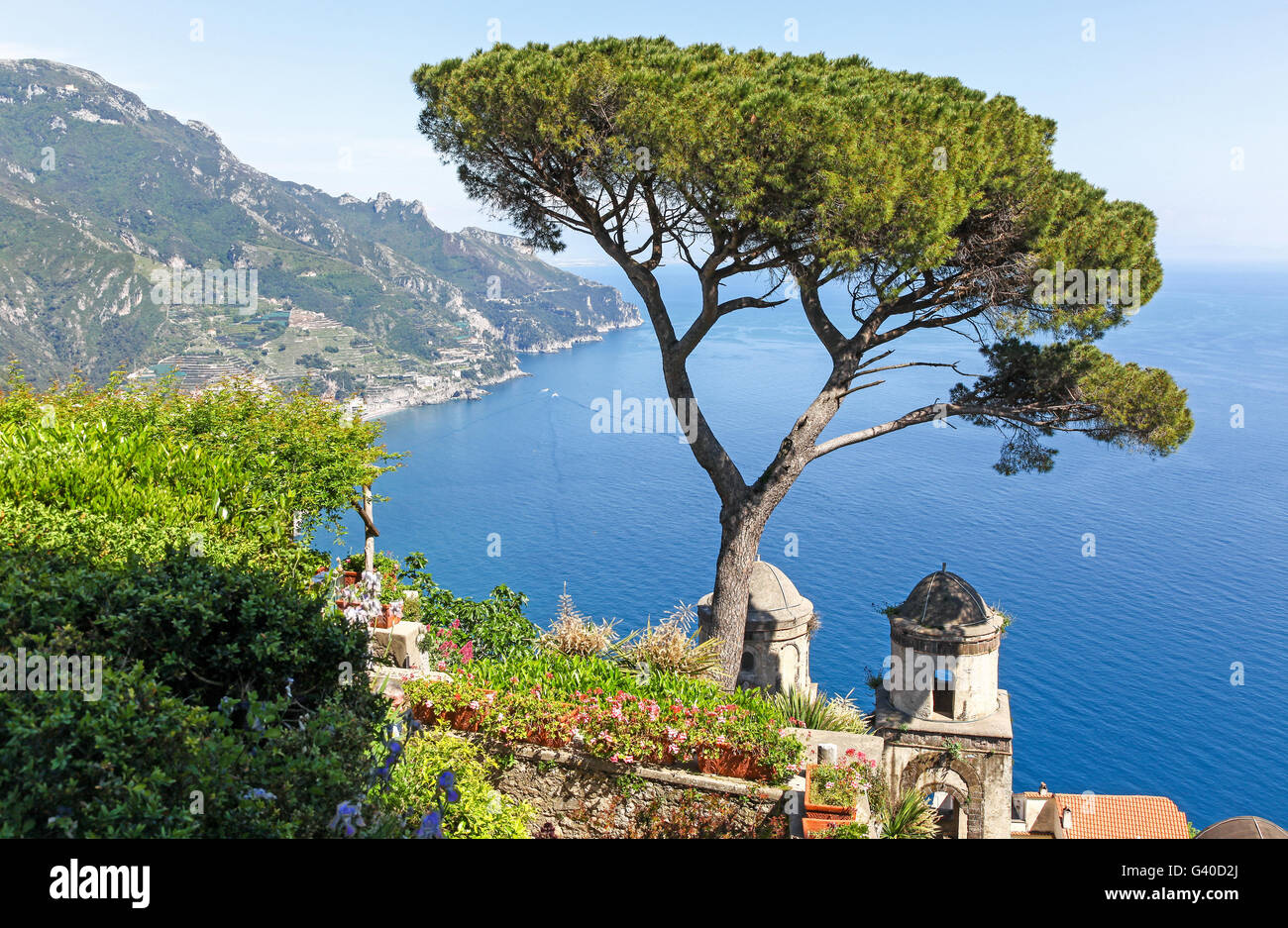 A view of the Amalfi Coast from the formal gardens garden at Villa Rufolo Ravello  Amalfi Coast Italy Europe - Stock Image