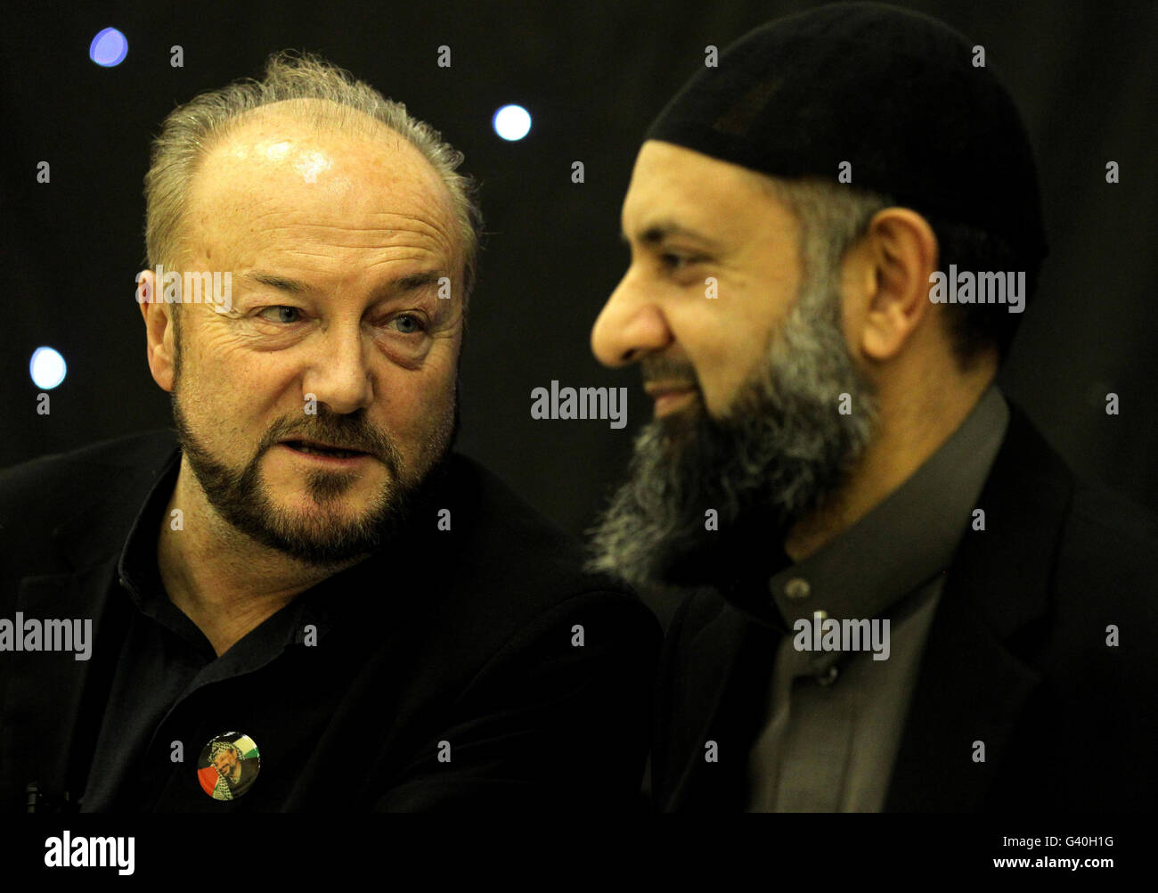 George Galloway mosque visit - Stock Image