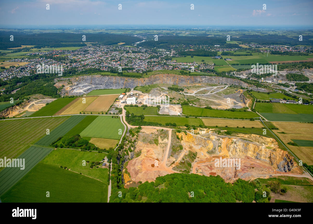 Aerial view, Warsteiner quarries, Warsteiner quarry Nuttlar path, Warstein, the Sauerland region, North Rhine-Westphalia, - Stock Image