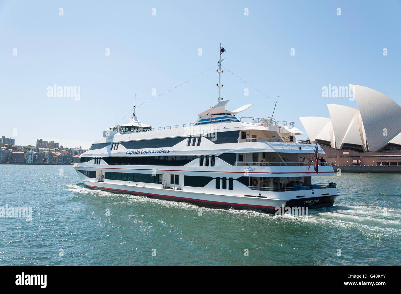 Captain Cook Cruise boat leaving Circular Quay, Sydney, New South Wales, Australia - Stock Image