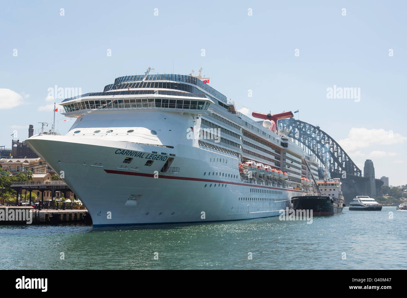 'Carnival Legend' cruise ship berthed at Circular Quay, Sydney Harbour, Sydney, New South Wales, Australia Stock Photo
