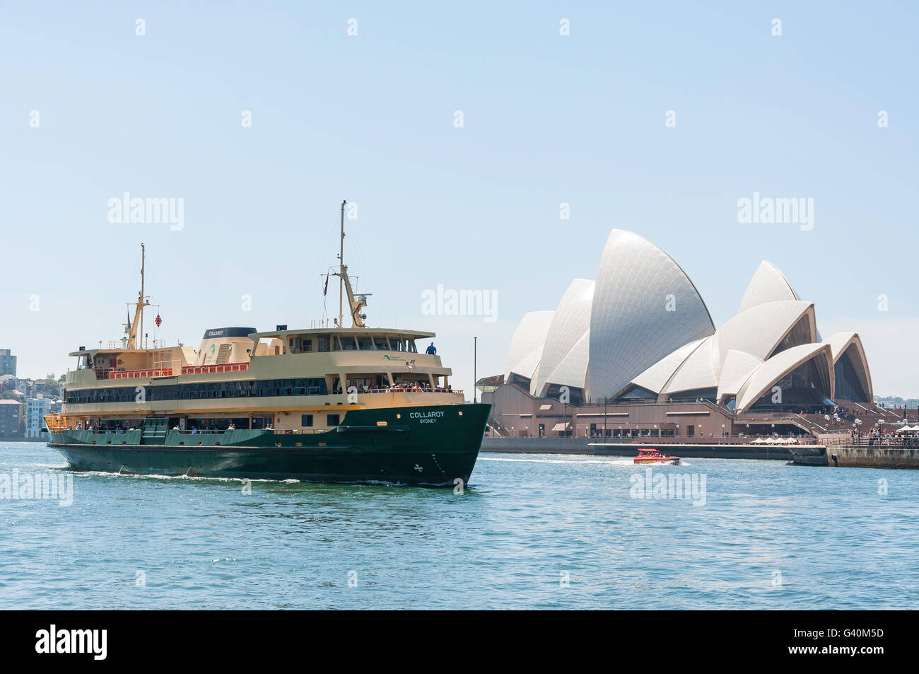 Sydney Ferries 'Collaroy' ship arriving at Circular Quay, Sydney Harbour, Sydney, New South Wales, Australia - Stock Image