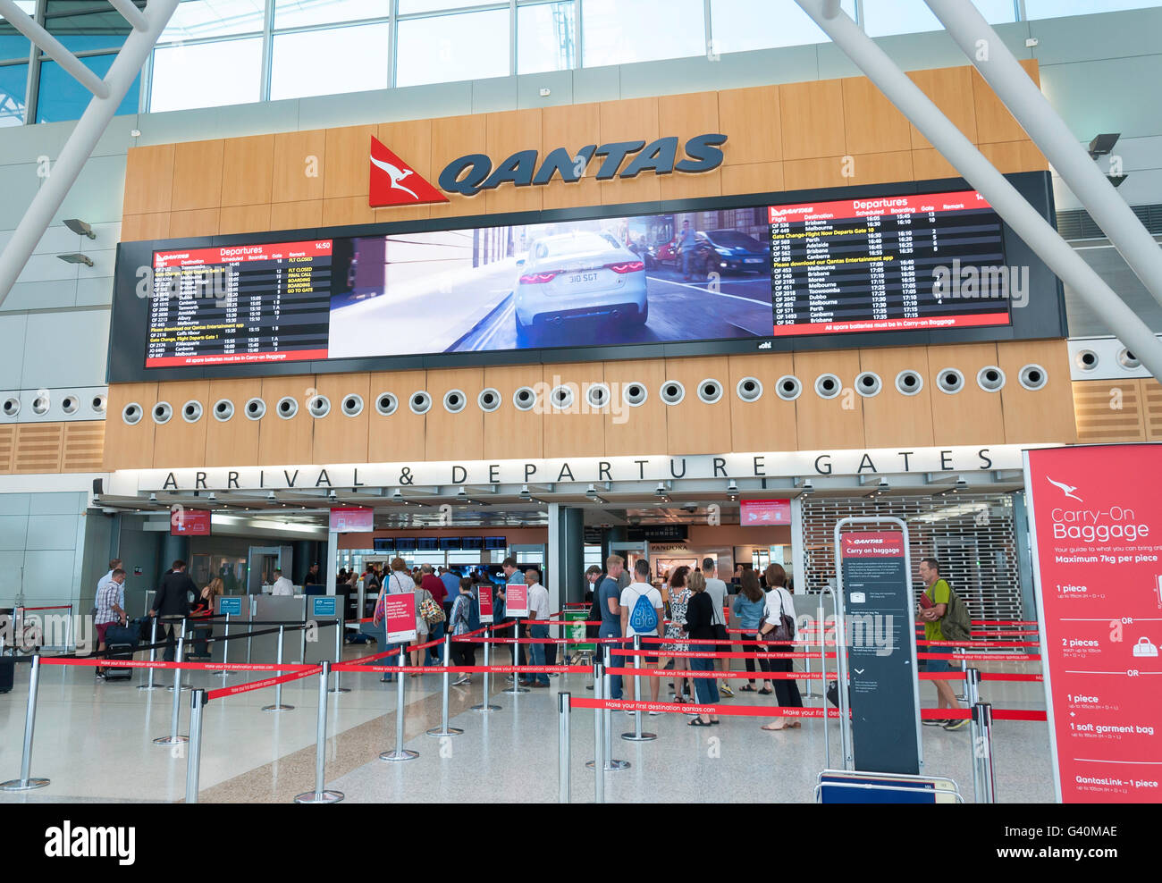 Arrival & Departure Gates at at Sydney Kingsford Smith Airport, Mascot, Sydney, New South Wales, Australia - Stock Image