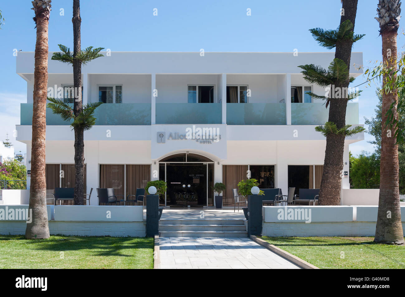 Entrance to Alice Springs Hotel, Lambi, Kos (Cos), The Dodecanese, South Aegean Region, Greece - Stock Image