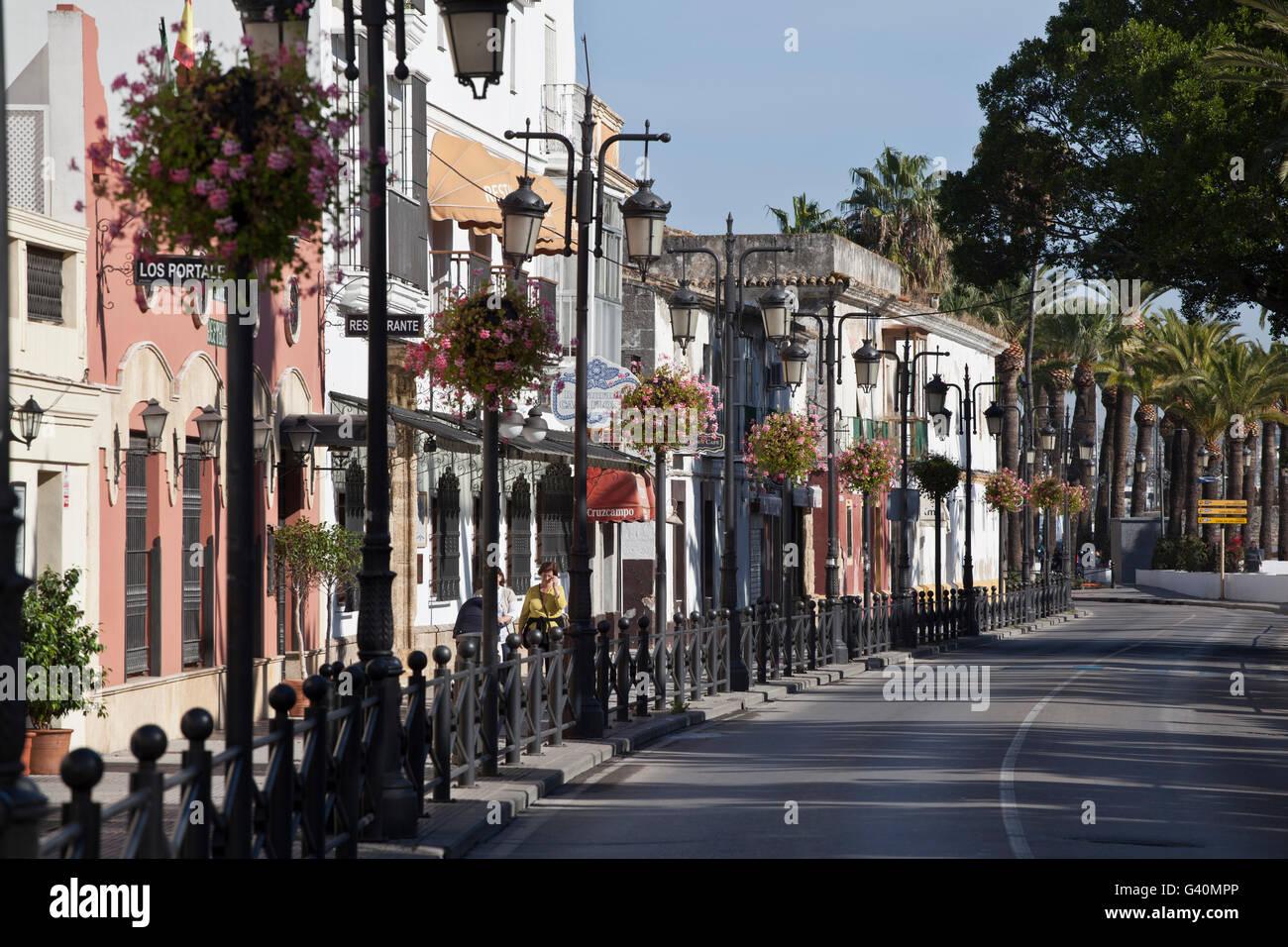 Calle Ribera del Marisco, Parque Calderón, El Puerto de Santa Maria, Costa de la Luz, Andalusia, Spain, Europe - Stock Image