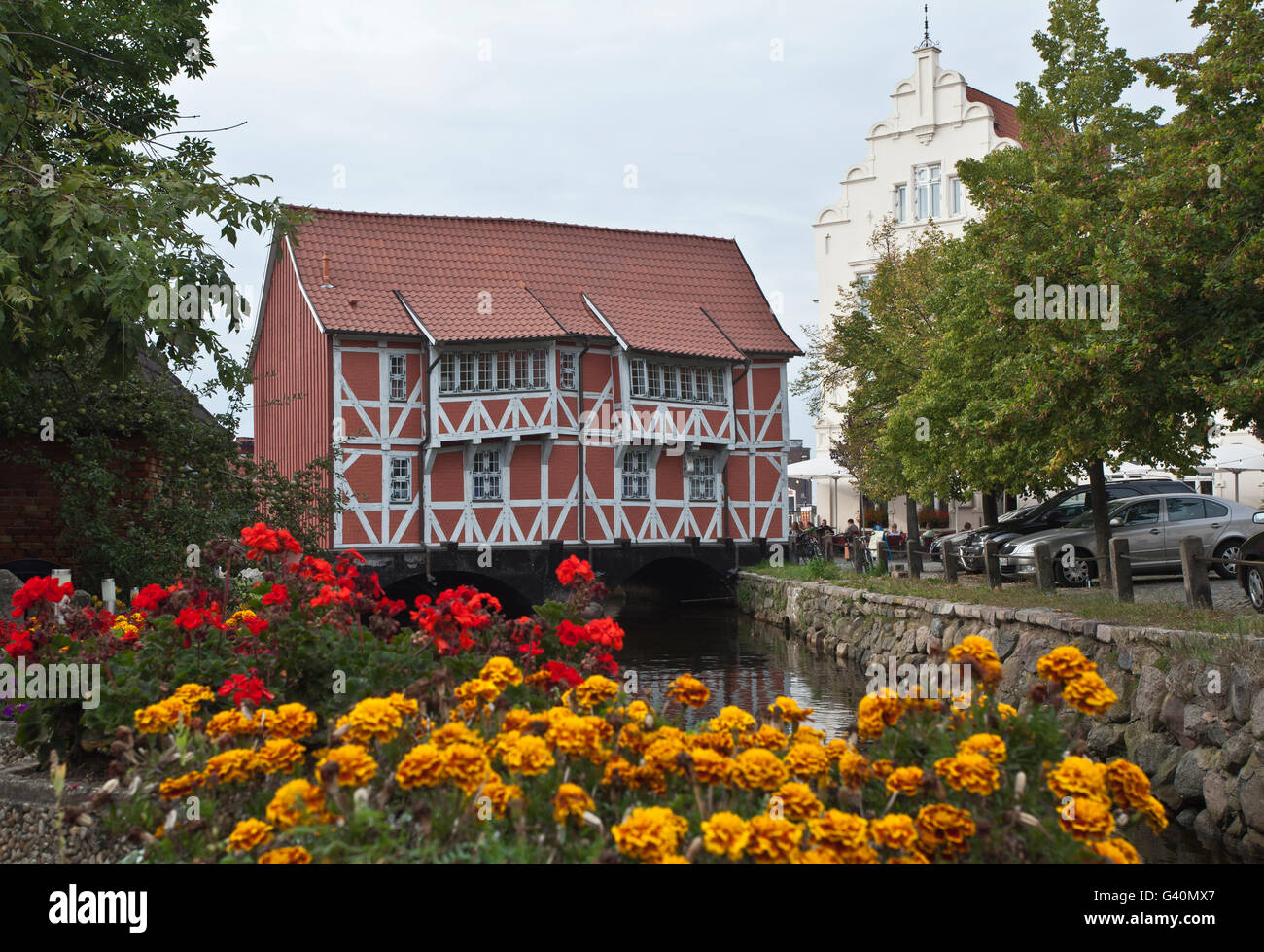 Bridge house over the Grube river, Wismar, Mecklenburg-Western Pomerania - Stock Image