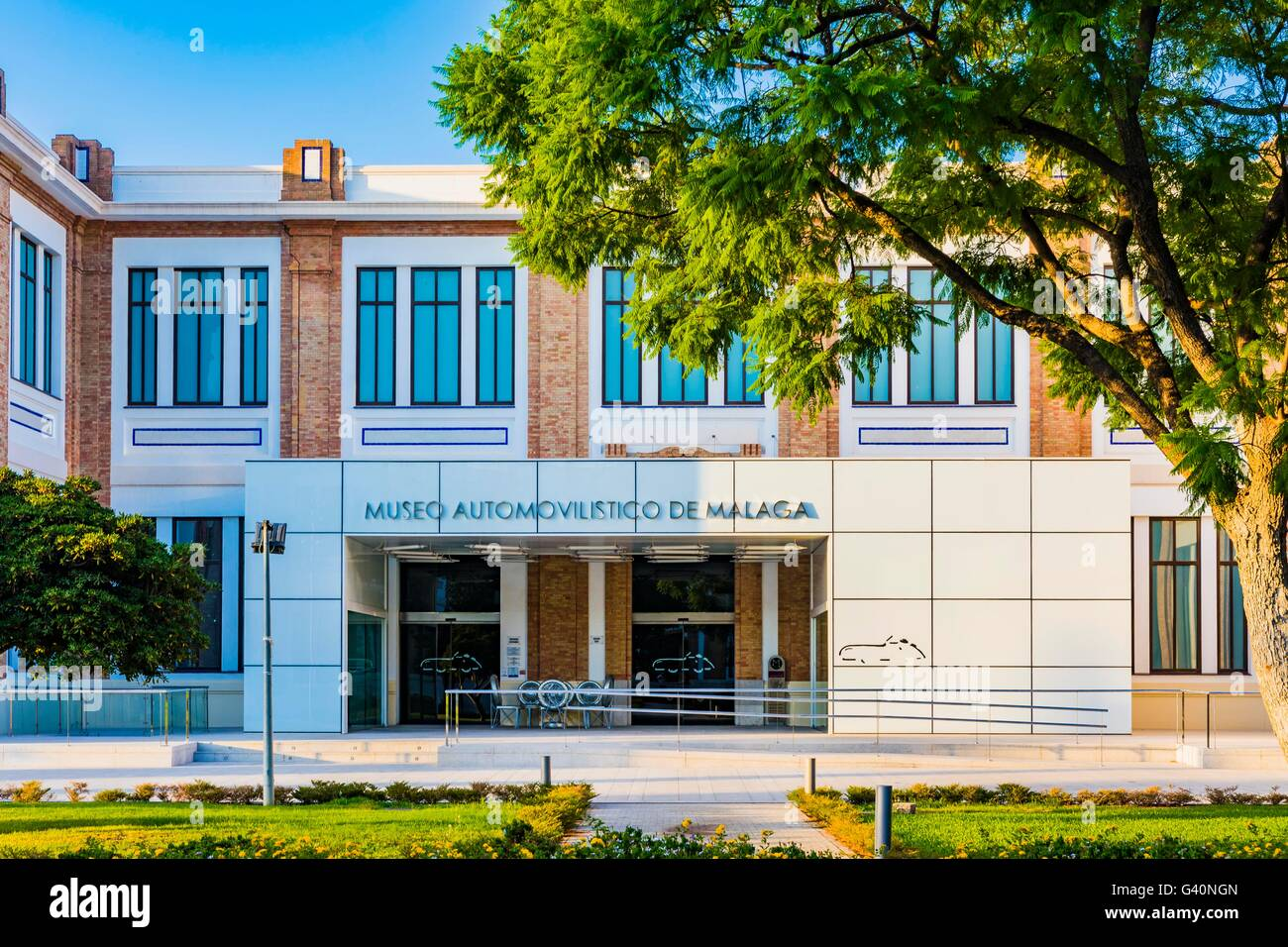 Facade, Malaga Car Museum. Tabacalera Complex. Málaga, Costa del Sol, Andalucía, Spain, Europe - Stock Image