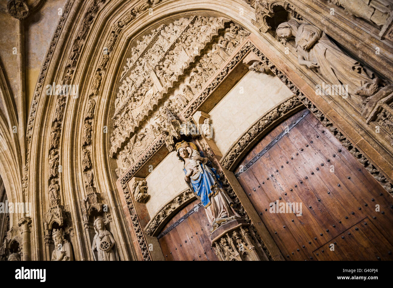 The central portal of Old Cathedral of Santa Maria, consecrated to the Virgin. Vitoria-Gasteiz, Álava, Basque - Stock Image