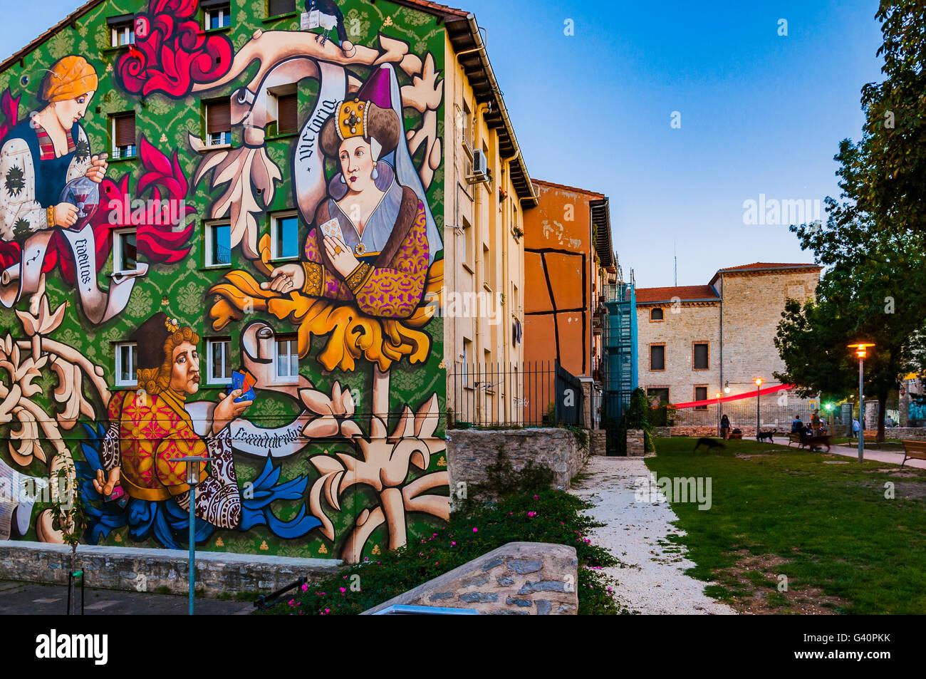 El Triunfo de Vitoria. Mural itinerary of Vitoria, IMVG. Calle Santa María 9. Vitoria-Gasteiz, Álava, - Stock Image