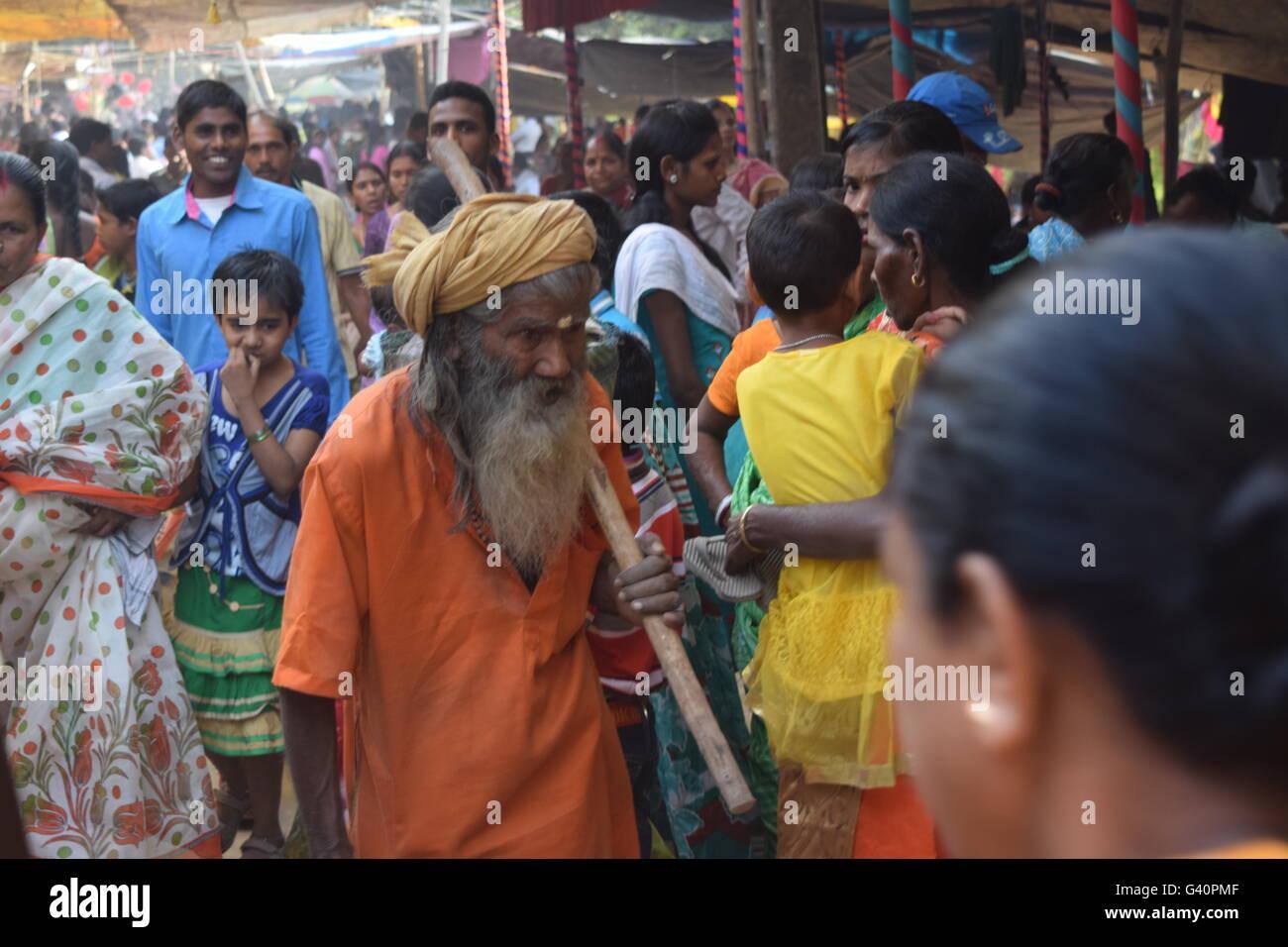 An Indian Old Sadhu Baba. - Stock Image