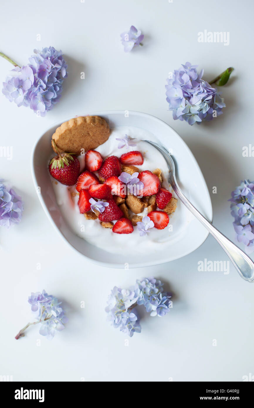 Coconut yogurt with strawberries and crushed coconut cookies - Stock Image