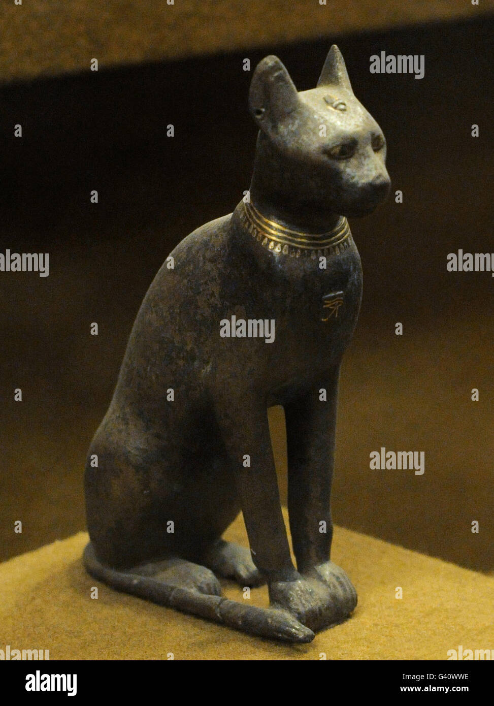 Bronze statue of the goddess Bastet represented as a domesticated cat. The State Hermitage Museum. Saint Petersburg. Stock Photo