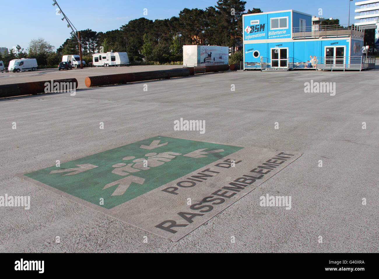 Esplanade at the entrance of the naval base of Lorient (France). - Stock Image