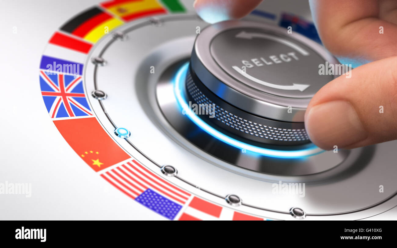 Hand turning a selection knob with many different flags around it. Concept of languages and multilingual support. - Stock Image