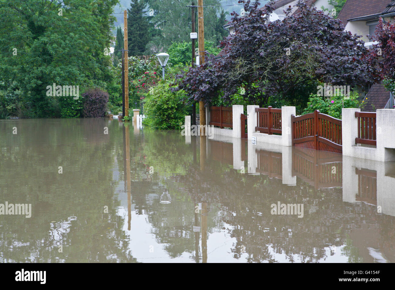 Flooded street in France - Stock Image