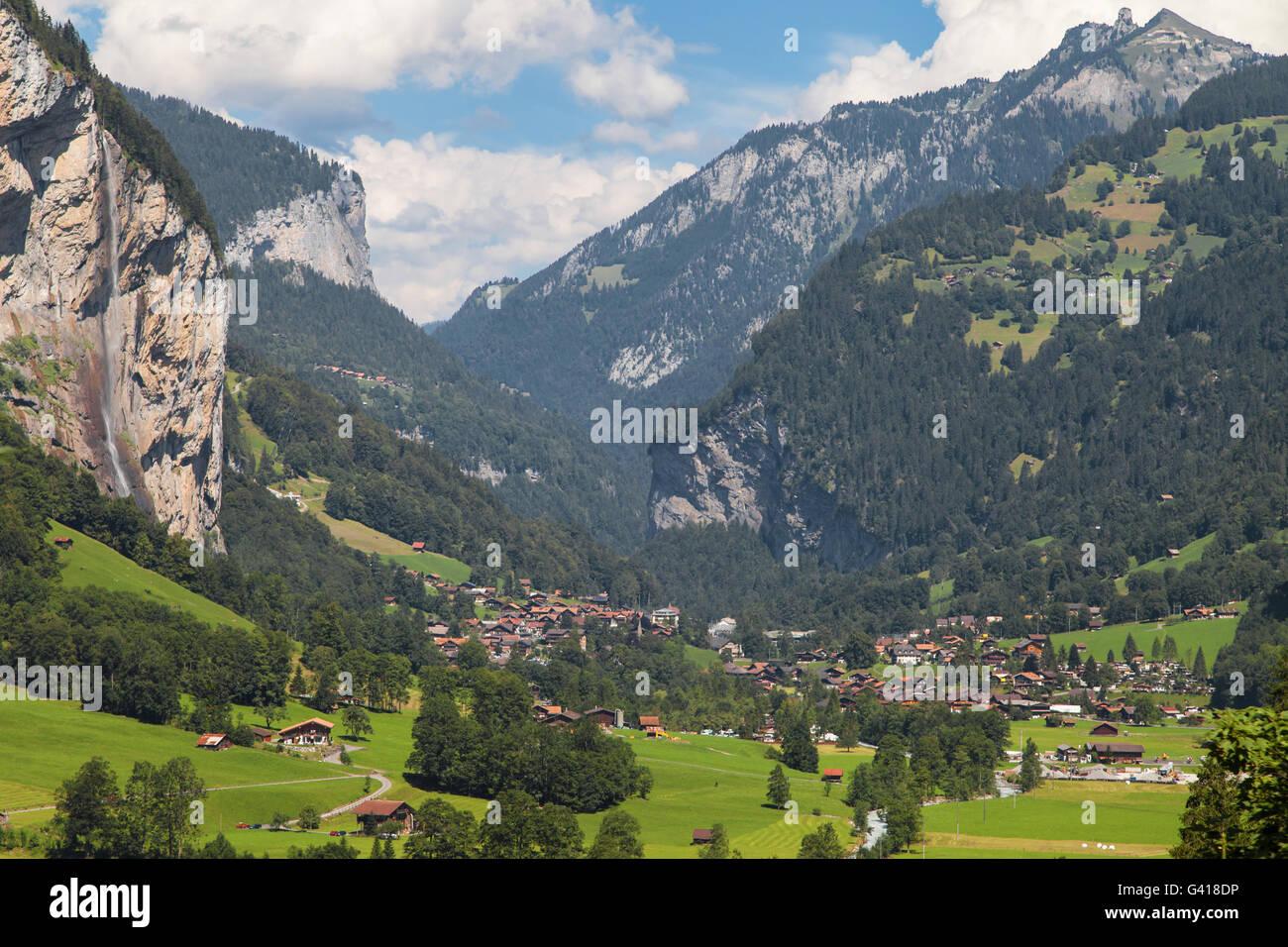 Village of Lauterbrunnen in Switzerland. - Stock Image