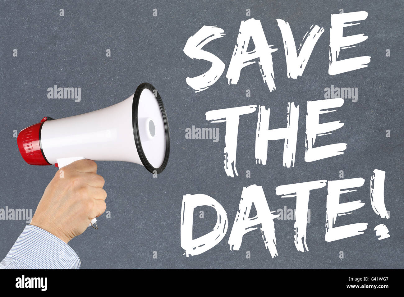 Save the date invitation message information hand with megaphone - Stock Image