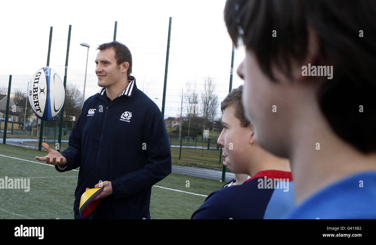 Rugby Union - Alastair Kellock Visit to Bishopbriggs Academy - Stock Image