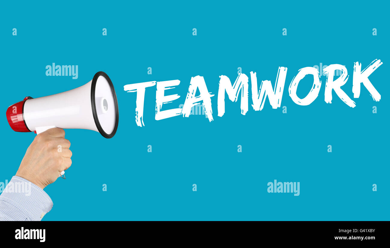 Teamwork team working together business concept success hand with megaphone - Stock Image
