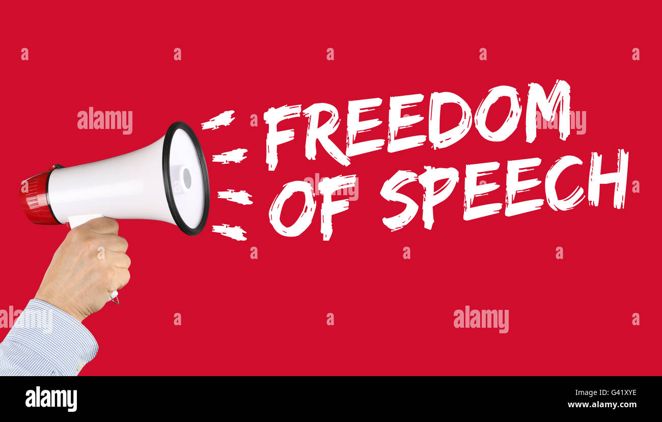 Freedom of speech press opinion expression censorship censored hand with megaphone - Stock Image