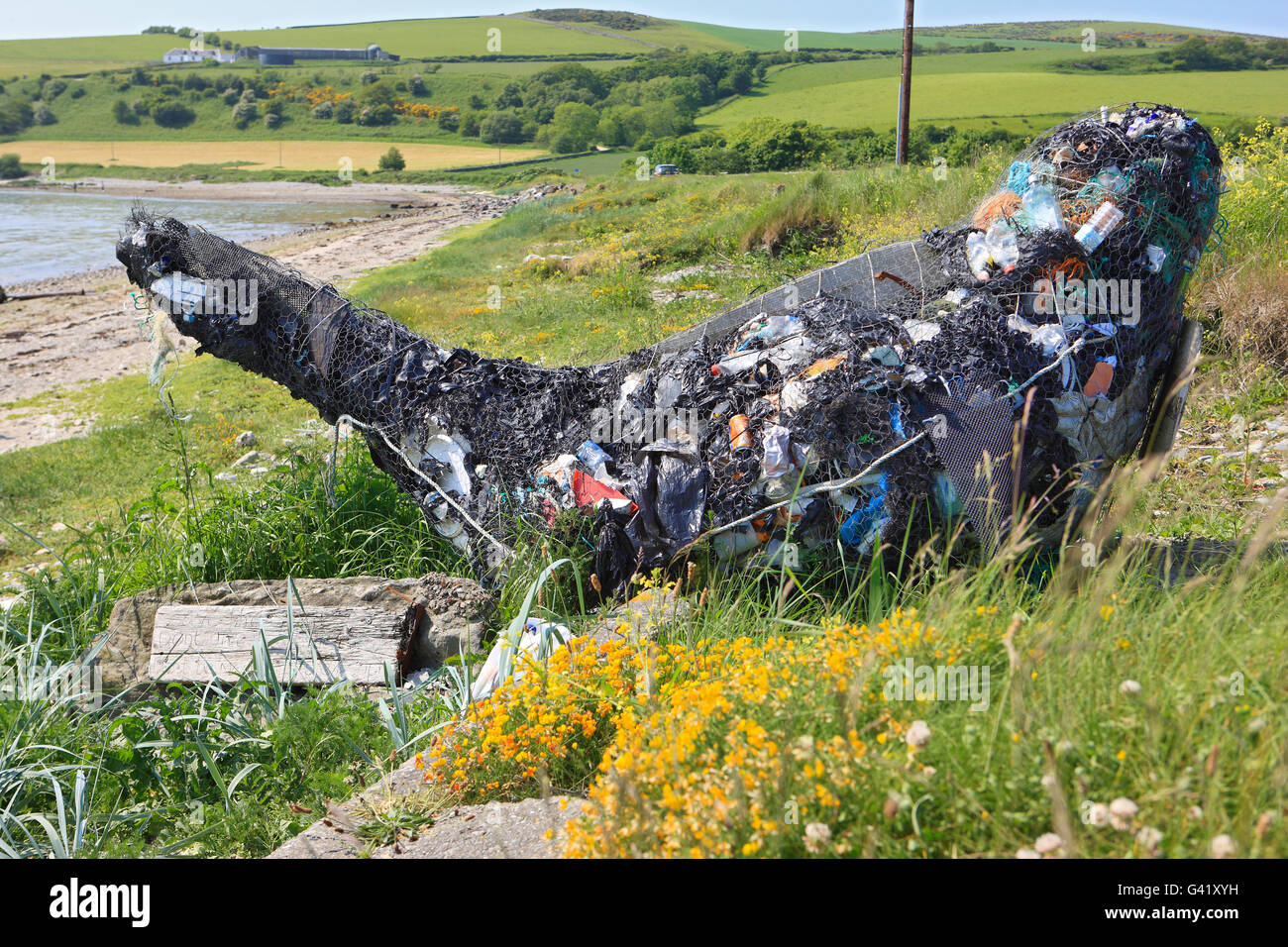 Whale art sculpture at Ettrick Bay on Isle of Bute. It's made from flotsam and jetsam materials washed up on - Stock Image