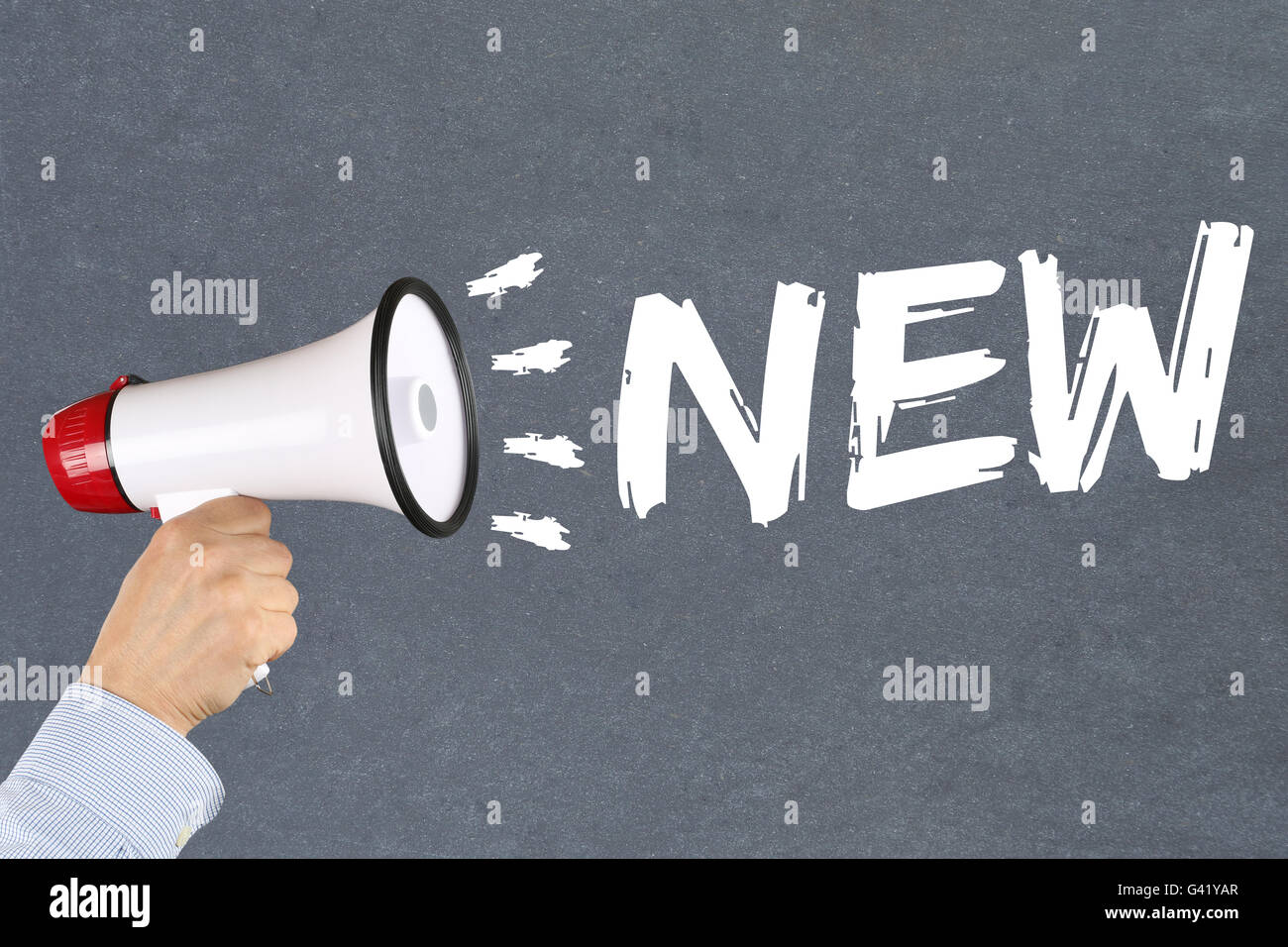 New promotion information advertising advertisement business concept hand with megaphone - Stock Image
