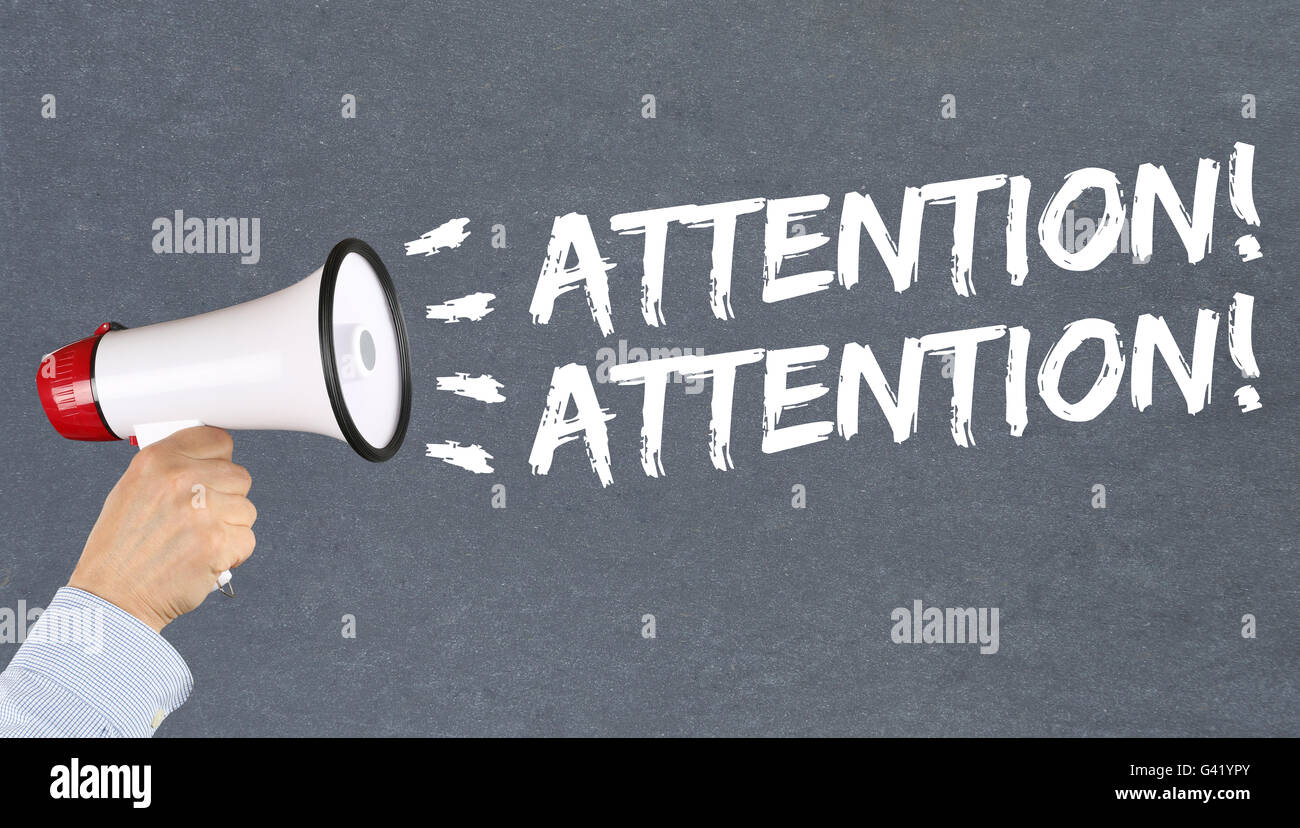 Attention announcement announce warning information hand with megaphone - Stock Image