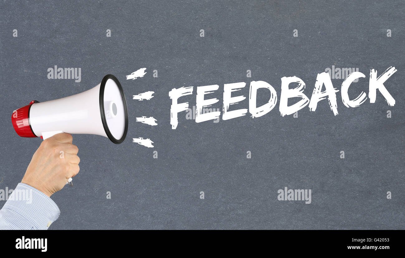 Feedback contact customer service opinion survey business concept review hand with megaphone - Stock Image