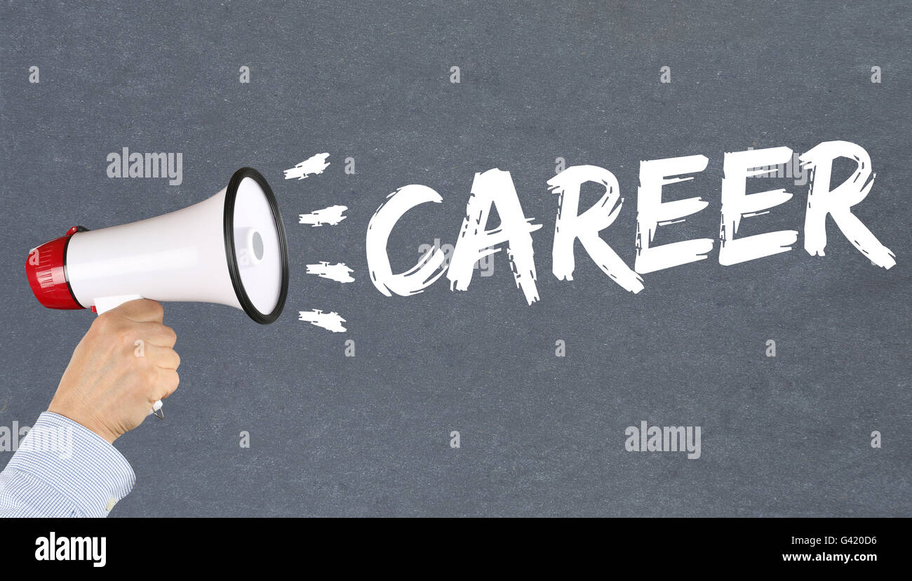 Career opportunities goals success and development business concept hand with megaphone - Stock Image