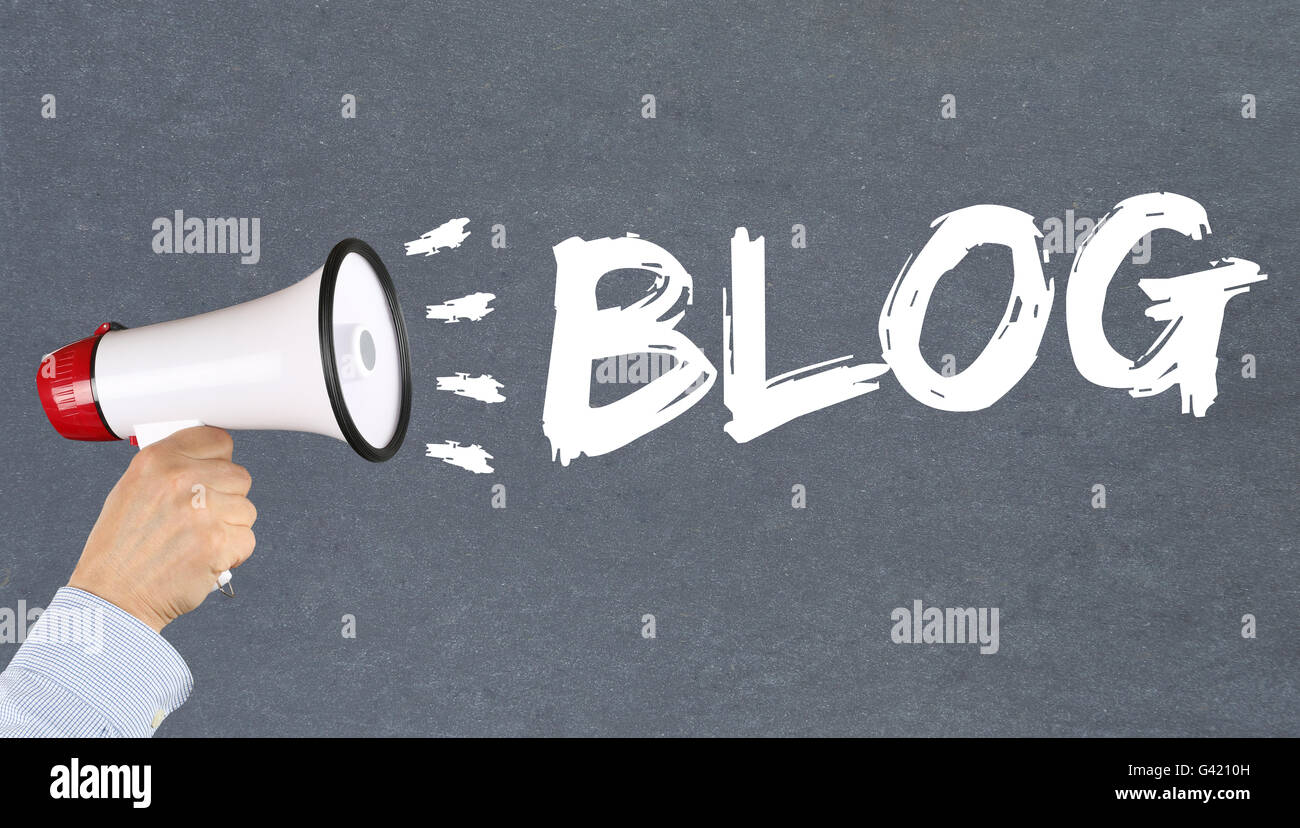 Blog writing blogger online concept hand with megaphone - Stock Image