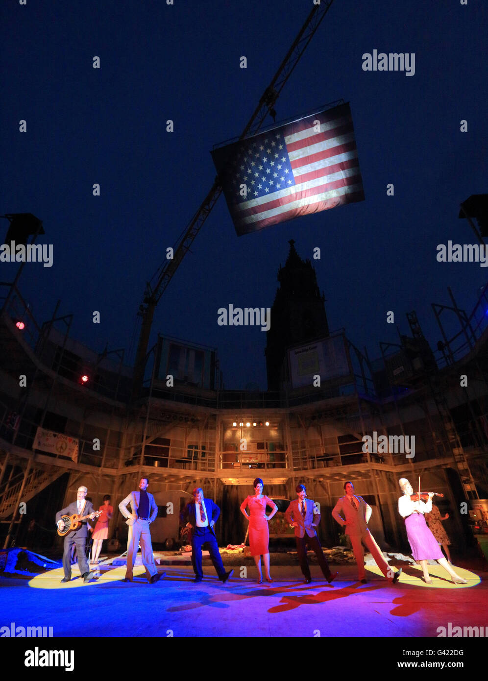 Magdeburg, Germany. 16th June, 2016. Musical artists stand on stage during the final rehearsal for the Domplatz - Stock Image
