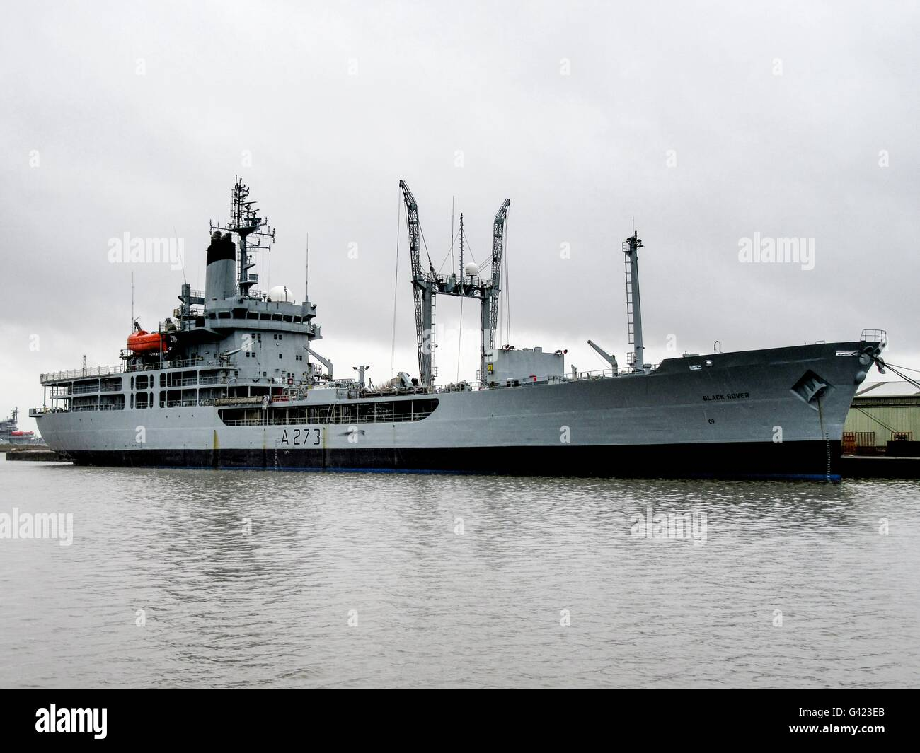 RFA Gold Rover, Fleet Replinishment Tanker, awaiting fate after decommisioning moored at Birkenhead - Stock Image