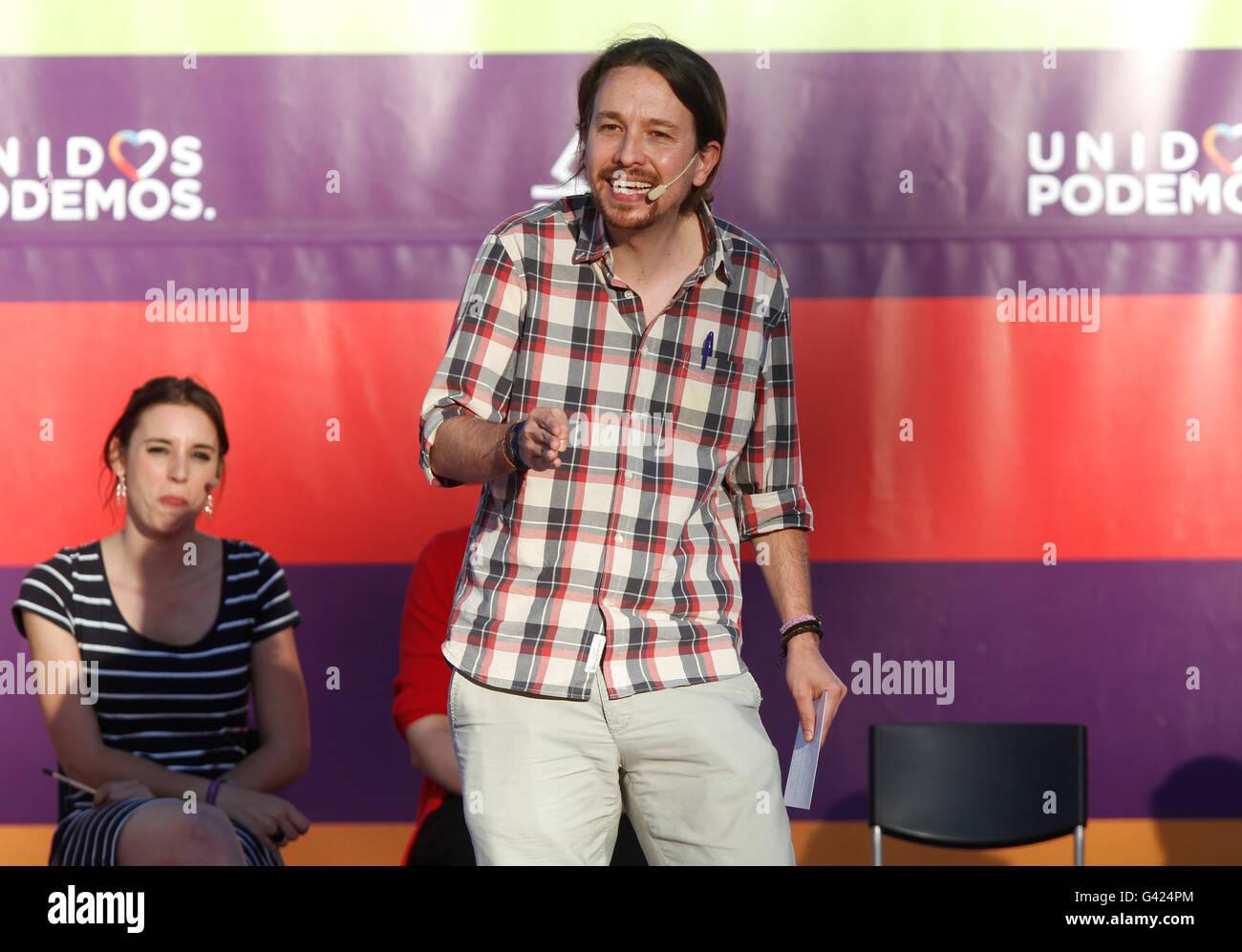 Palma de Mallorca, Spain. 16th June, 2016. Pablo Iglesias , leader of Podemos. In the political rally in Palma de - Stock Image