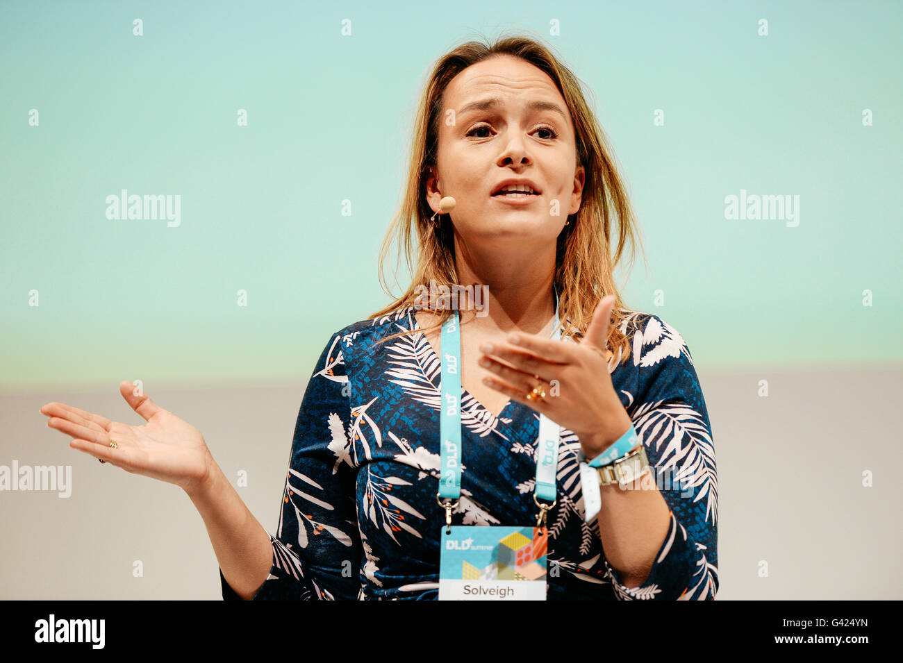 MUNICH/GERMANY - JUNE 17: Solveigh Hieronimus (McKinsey & Company) speaks onstage during the DLDsummer Conference Stock Photo