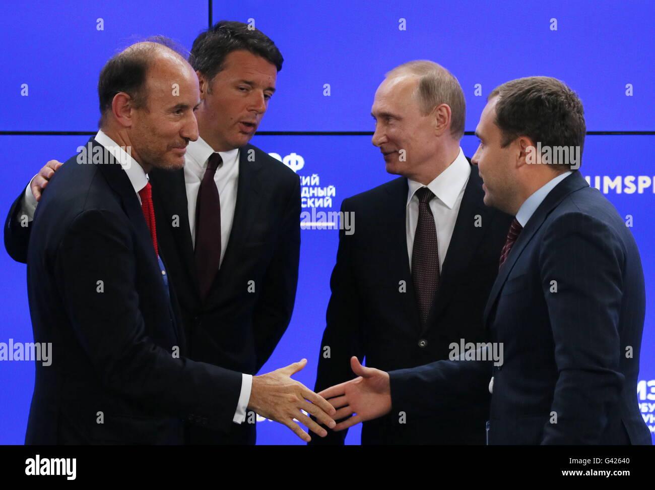St Petersburg, Russia. 17th June, 2016. Cassa Depositi e Prestiti (CDP) CEO Fabio Gallia, Italy's Prime Minister - Stock Image