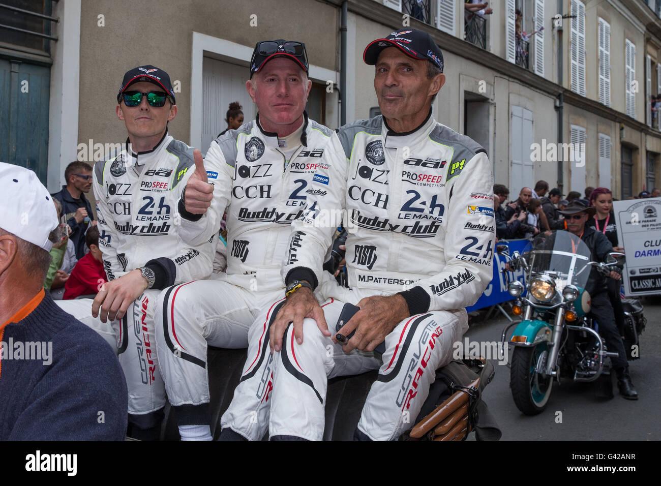 Le Mans Circuit, Le Mans, France. 17th June, 2016. Le Mans 24 Hours Drivers Parade. Team AAI Chevrolet Corvette - Stock Image