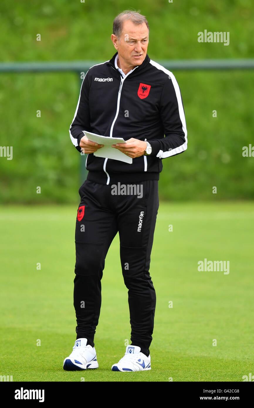 Coach Gianni De Biasi looks on during a team training session at the transfer training ground Plaine de jeux de Stock Photo