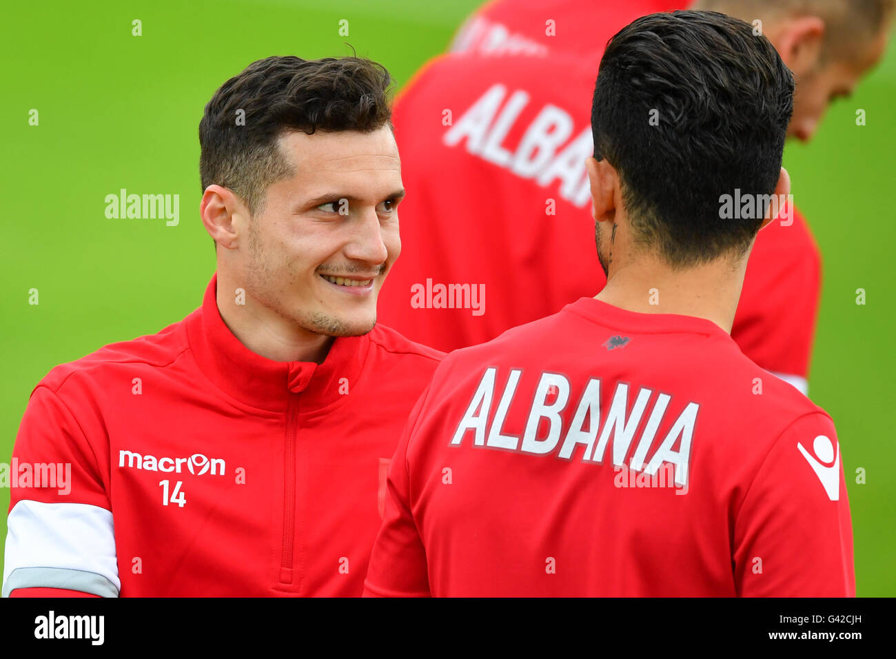 Taulant Xhaka (L) of Albania during a team training session at the transfer training ground Plaine de jeux de Gerland Stock Photo
