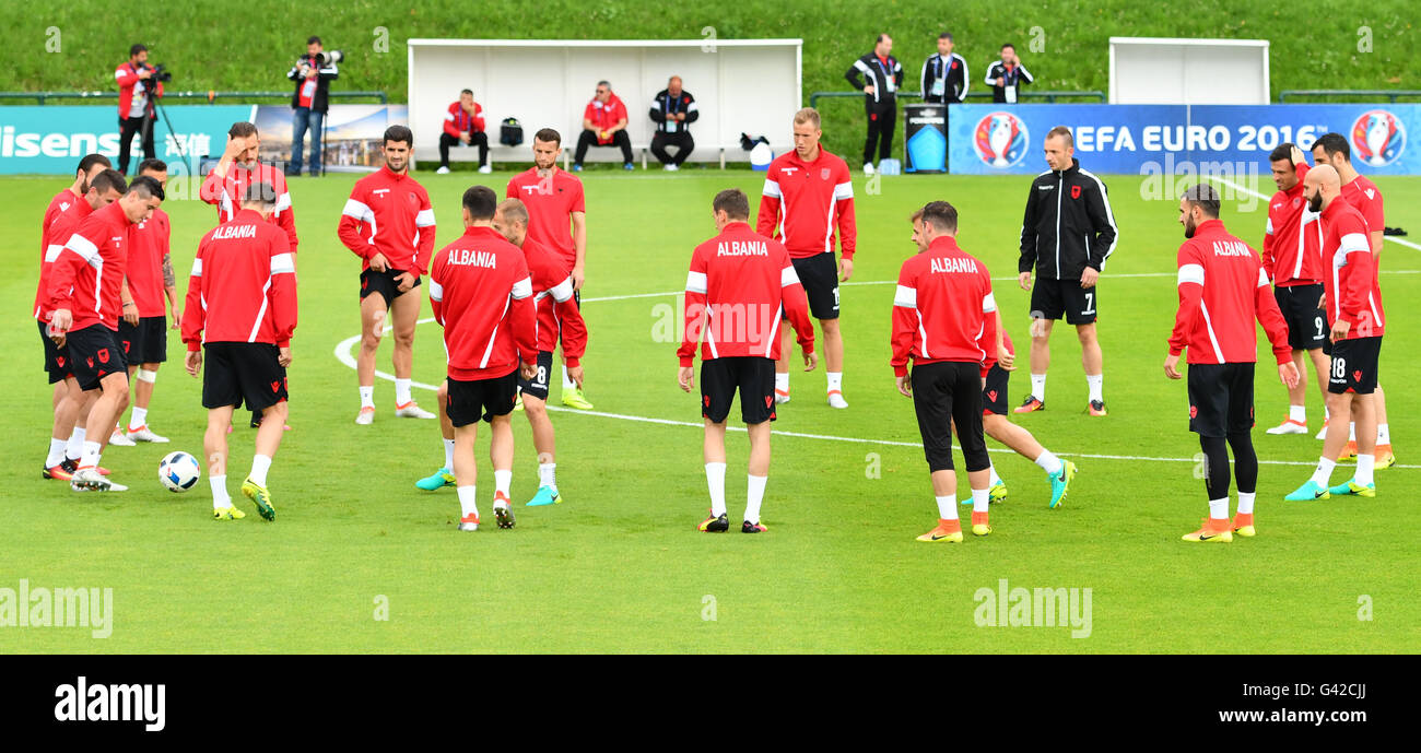 Players of Albania exercise during a team training session at the transfer training ground Plaine de jeux de Gerland Stock Photo