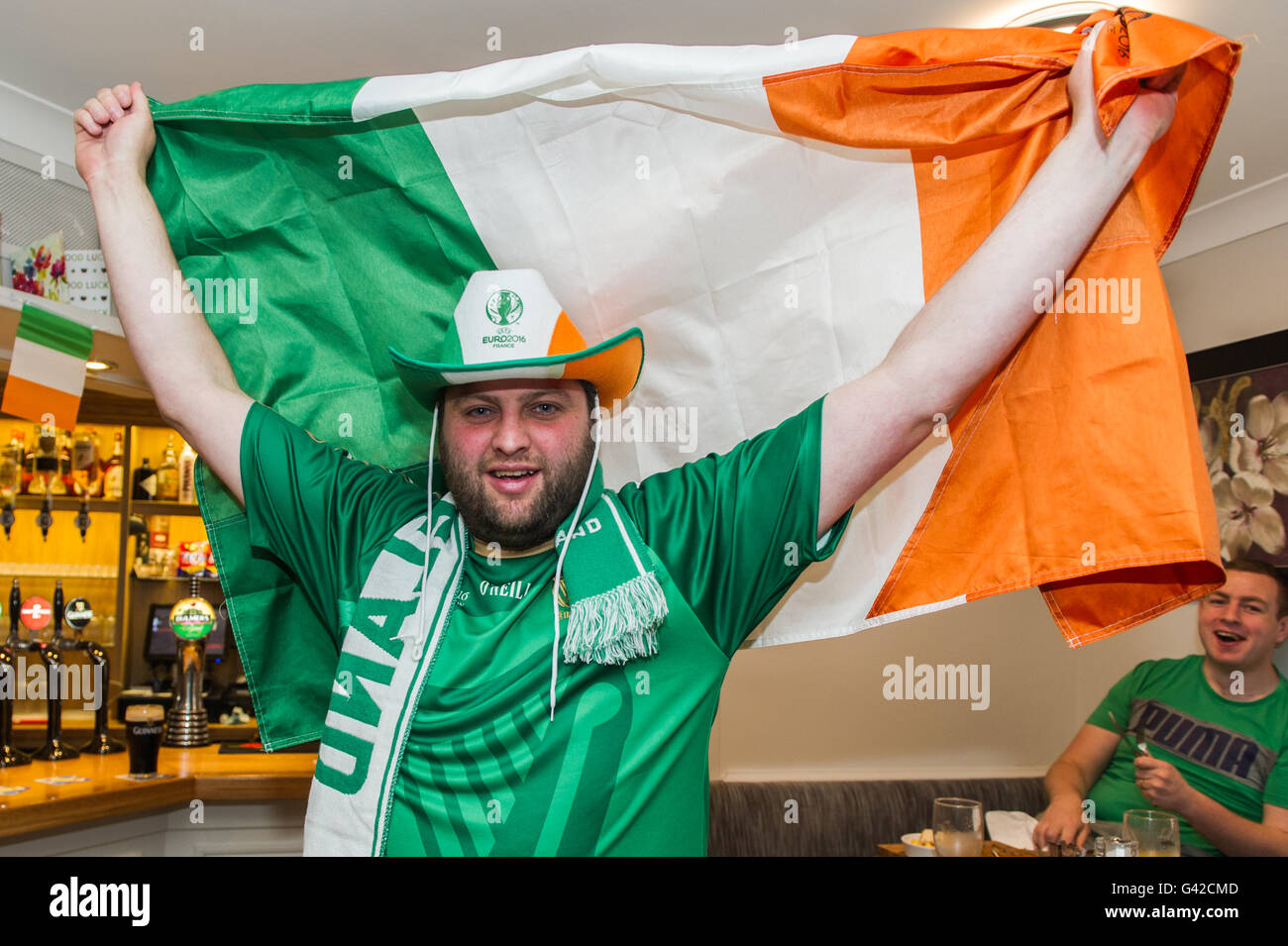Skibbereen, West Cork, Ireland. 18th June, 2016. Ireland fan Cathal Minihane, from Skibbereen, was dressed for the - Stock Image