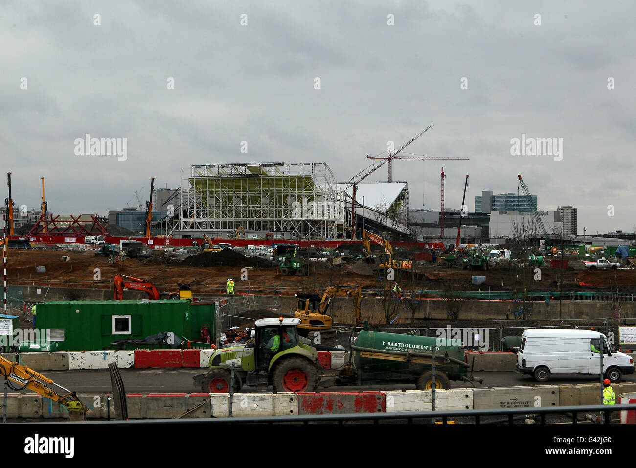 A general view of the London 2012 Olympic Park in Stratford as construction work progresses Stock Photo