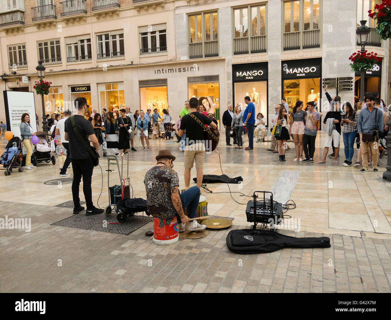 Street musicians at calle Larios, Malaga Costal del Sol. Andalusia, Spain Europe - Stock Image